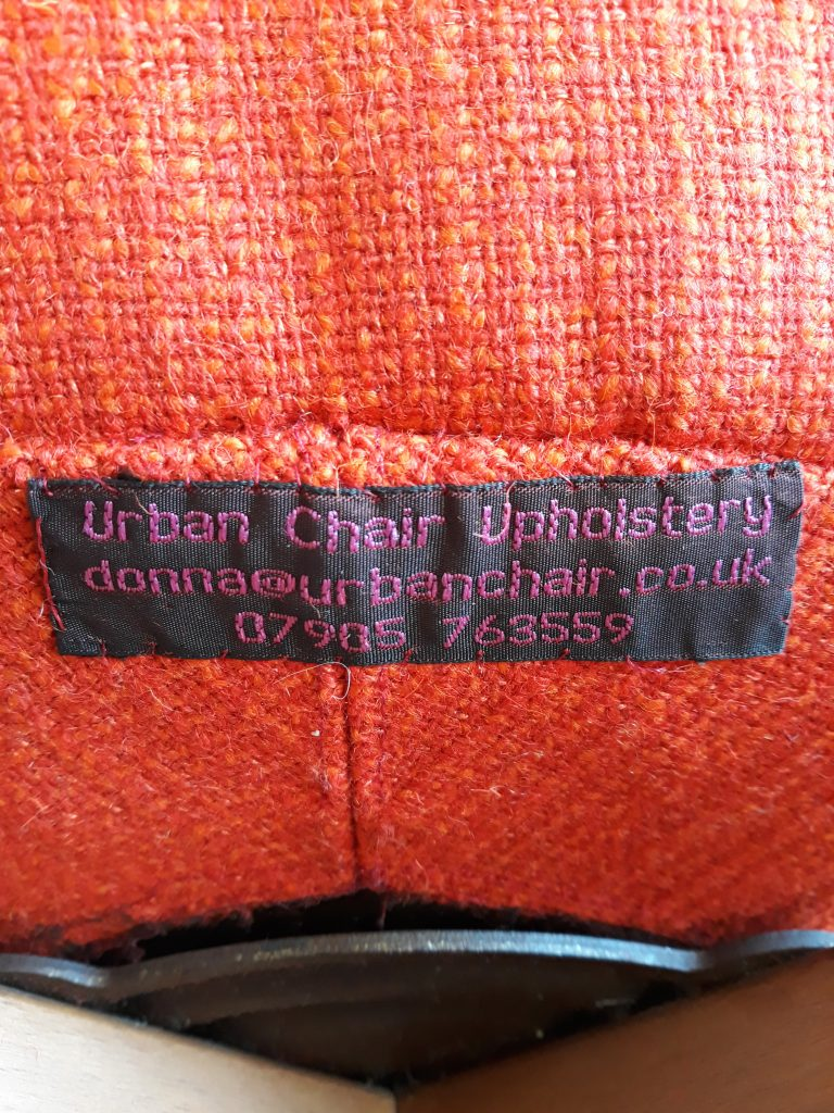 Urban Chair Uoholstery Label on Egg Chair