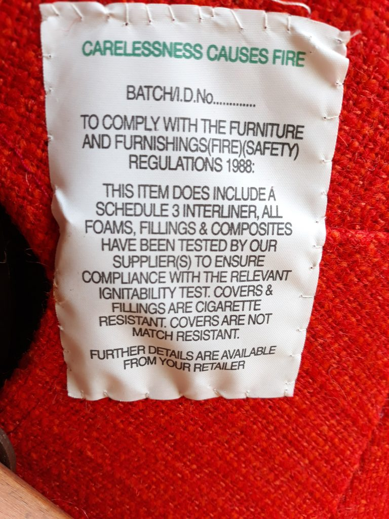 Fire Regs Label on Egg Chair